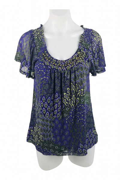 Apt. 9, Women's Blue And Green Floral Scoop-neck Shirt - Size: M (Regular)