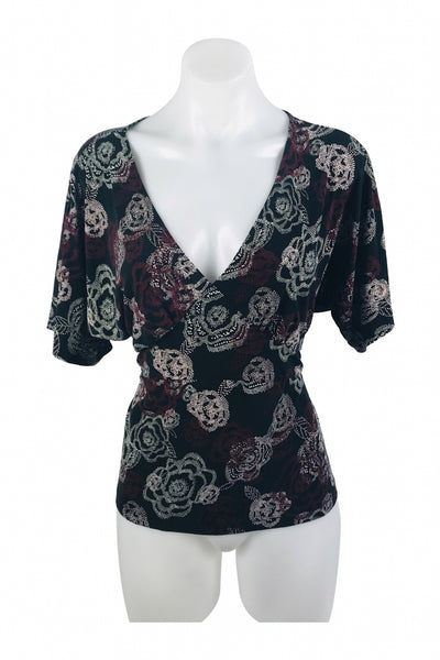 New York & Company, Women's Black And White Floral Top - Size: M (Regular)