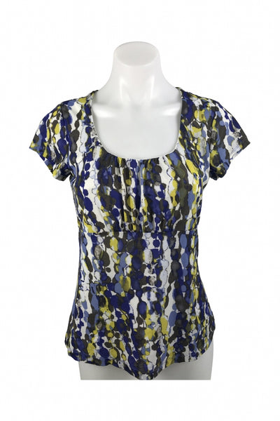 Ann Taylor, Women's White, Black, And Purple Floral Shirt - Size: S (Regular)