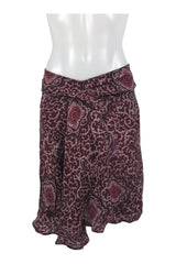 Love 21, Women's Maroon Floral Skirt - Size: M (Regular)