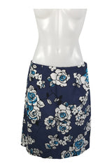 Bass, Women's Black And Blue  Floral Skirt - Size: 2 (Regular)