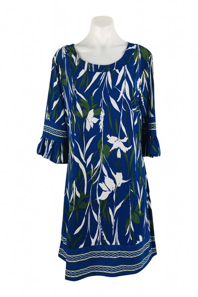 Tracy Lynn, Women's Blue And White Scoop-neck Dress - Size: XL (Regular)