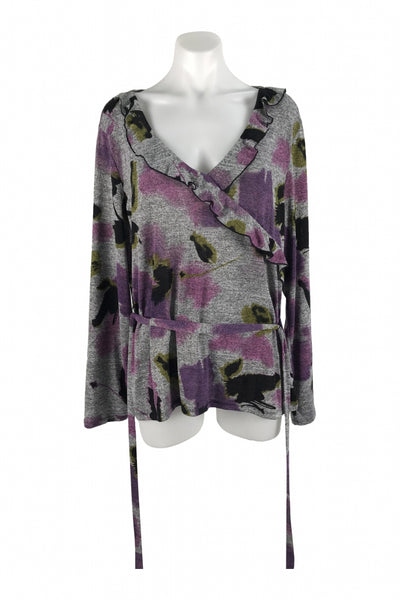 East 5th, Women's Gray And Purple Floral Sweater - Size: XL (Regular)