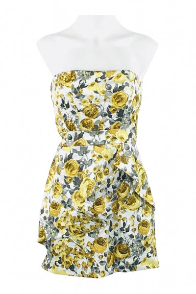 Speechless, Women's Yellow And Grey Floral Dress - Size: S (Regular)