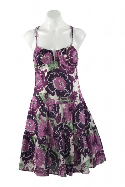 Aqua, Women's Purple And White Floral Sleeveless Dress - Size: S (Regular)
