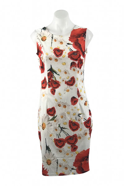 Angvns, Women's White And Red Floral Dress - Size: S (Regular)
