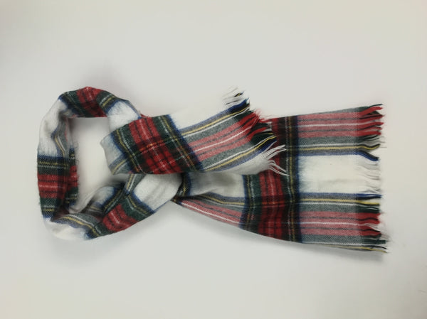 Unbranded, Women's White And Red Plaid Scarf - Size: One Size (Regular)