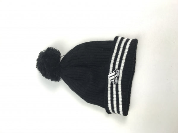 Adidas, Women's Black Hat With White Lines Beanie  Hat - Size: One Size (Regular)