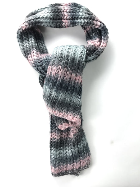 K Accessories, Women's Gray And Pink Crochet Scarf - Size: One Size (Regular)