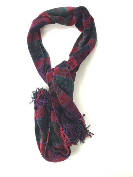 Loominus Handwovens, Women's Red And Green Scarf - Size: One Size (Regular)