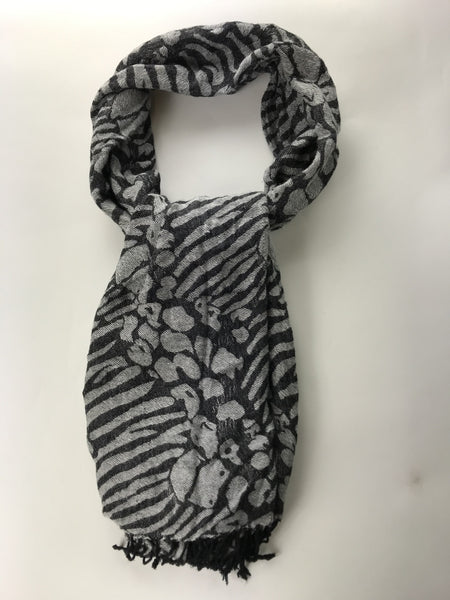 Unbranded, Women's Grey And Black Scarf - Size: One Size (Regular)