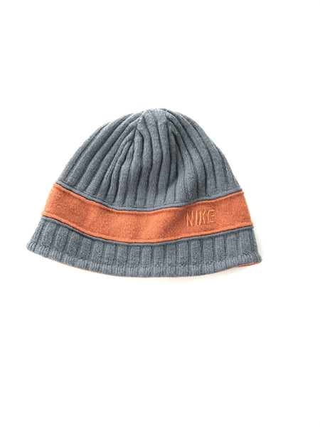 Nike, Women's Gray And Orange Nike Knit Beanie Cap - Size: One Size (Regular)