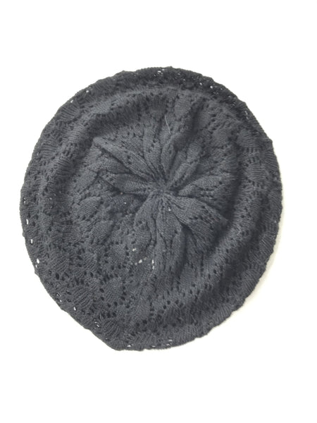 Unbranded Accessories, Women's Black Knit Beret Hat - Size: One Size (Regular)