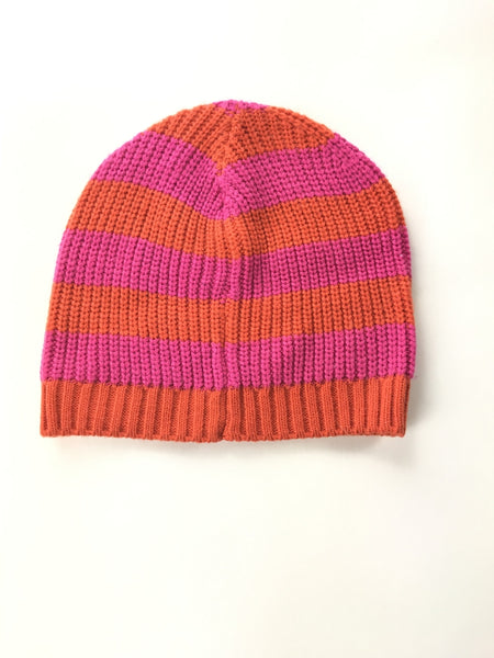 Unbranded Accessories, Women's Pink And Orange Striped Knitted Beanie Cap - Size: One Size (Regular)