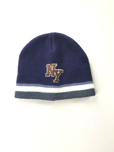 New York & Company, Women's Blue And White Knitted Beanie Cap - Size: One Size (Regular)