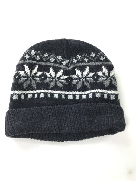 Unbranded, Women's Black And White Knitted Beanie Cap - Size: One Size (Regular)