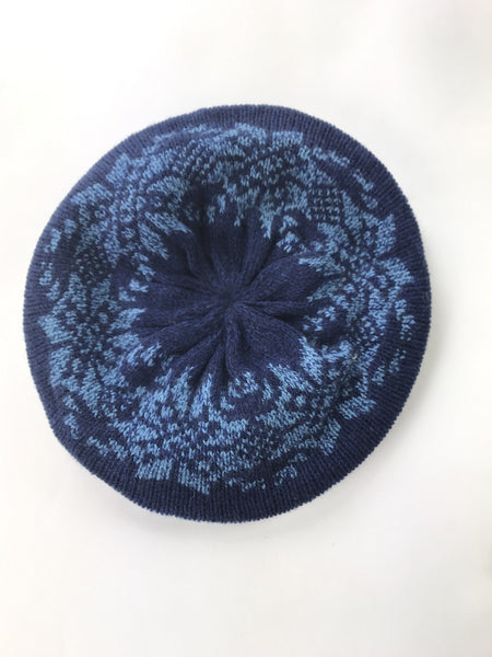 Unbranded Accessories, Women's Black And Blue Floral Textile Beanie Hat - Size: One Size (Regular)