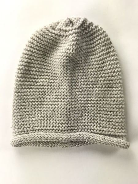 H&M, Women's Ivory Knitted Textile Beanie Cap - Size: One Size (Regular)
