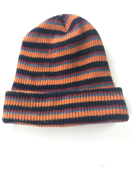 Unbranded Accessories, Women's Red And Black Striped Textile Beanie Hat - Size: One Size (Regular)
