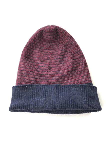 Unbranded Accessories, Women's Maroon And Blue Knitted Striped Beanie Cap - Size: One Size (Regular)