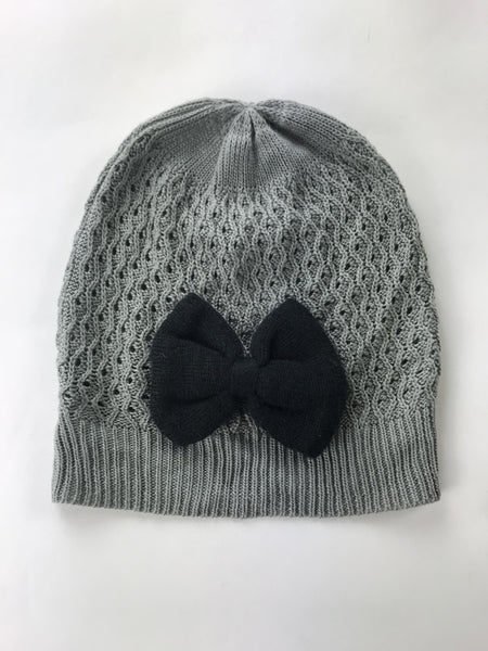 Unbranded Accessories, Women's Grey And Black Knitted Beanie Cap - Size: One Size (Regular)