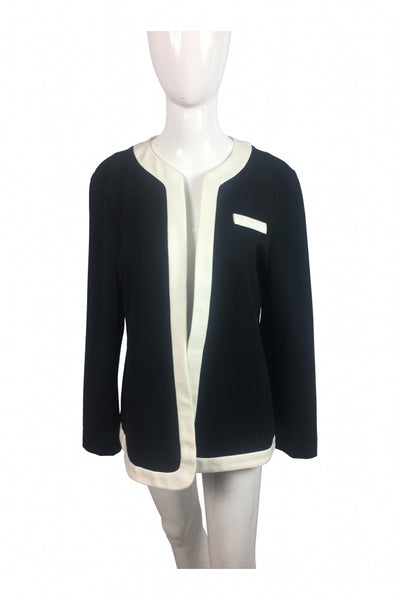 Elle, Women's White And Black Jacket - Size: L (Regular)