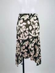 Merona, Women's White And Brown  Floral Skirt - Size: M (Regular)