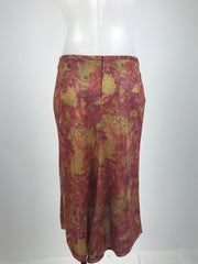 Bisou Bisou, Women's Maroon And Brown Floral Skirt - Size: S (Regular)
