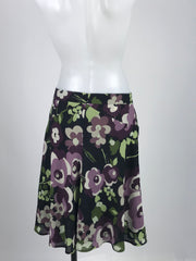 Ann Taylor LOFT, Women's Purple, Green, And Black Floral Midi Skirt - Size: 6 (Petite)