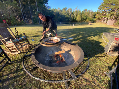 Sea Island Forge Cooking on Kettle