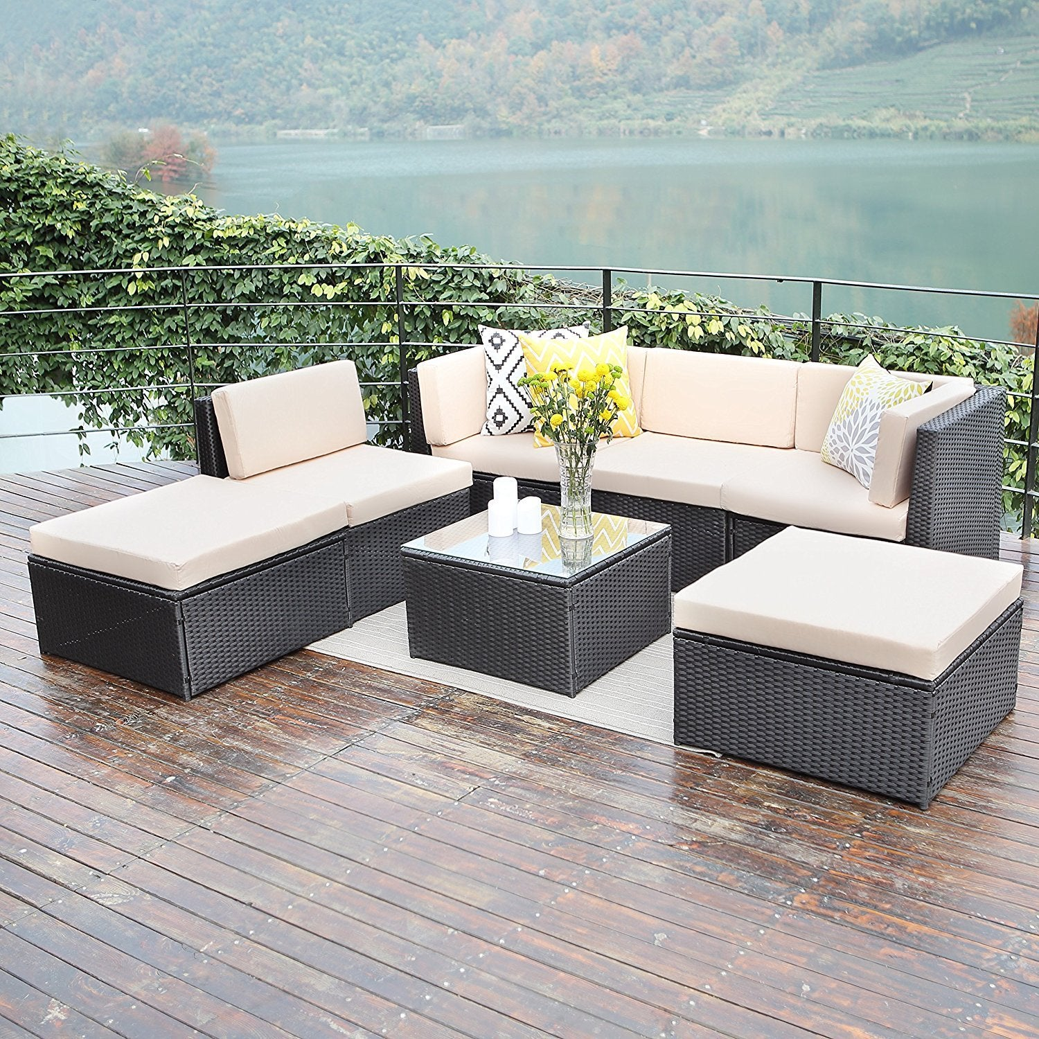 Vakker Outdoor Patio Furniture Sets,Wisteria Lane 7 Pc Wicker Sofa