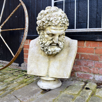 Stone Composite Zeus Garden Ornament Statue With Pedestal