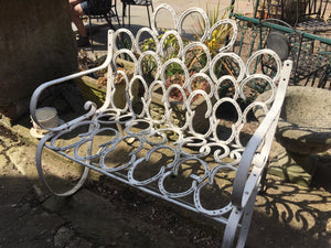 Beautiful White Metal Horse Shoe Bench