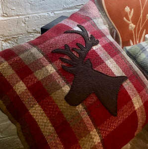Red Checked Stag Cushion