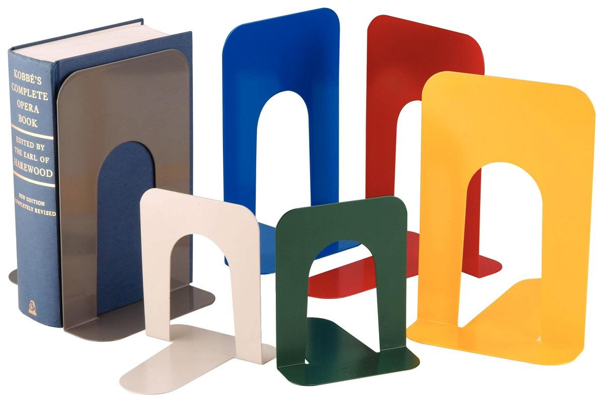 classic L-shaped vintage metal library bookends