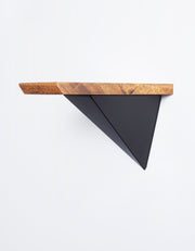 small 10 inch wood shelf, pyramid bracket shelving system, modular furniture for nomadic living