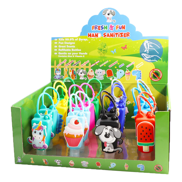 Fresh & Fun 20 Unit Hand Sanitizer Display with 2 Each of 10 Designs with Scent