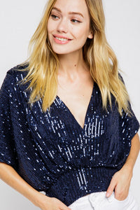 Sequin Holiday Party Top Blouse