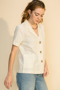 Island Breeze Linen Blazer in Bone