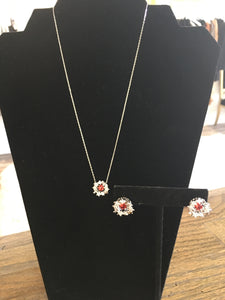 Red Crystal Necklace with Shimmering Stone