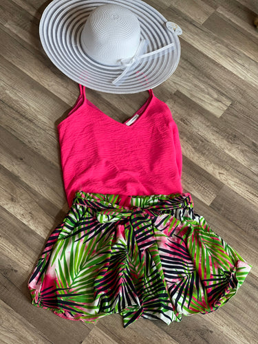 Tropics On My Mind Shorts in Fuchsia and Green