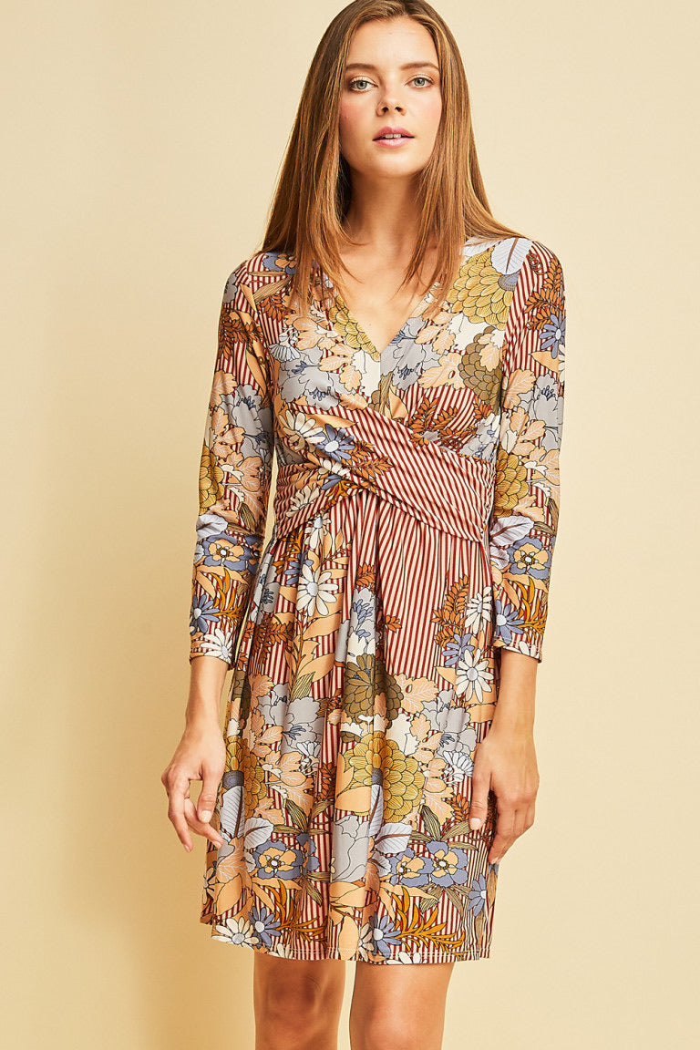 Look For Love Floral Striped Dress