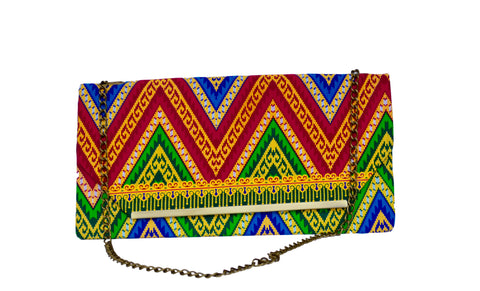Red and Green Chevron Chain Purse