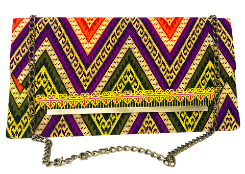 Purple and Green Chevron Chain Purse