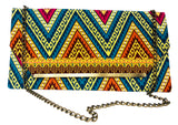 Blue and Orange Chevron Chain Purse
