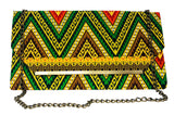 Green and Brown Chevron Chain Purse