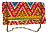 Red and Orange Chevron Chain Purse
