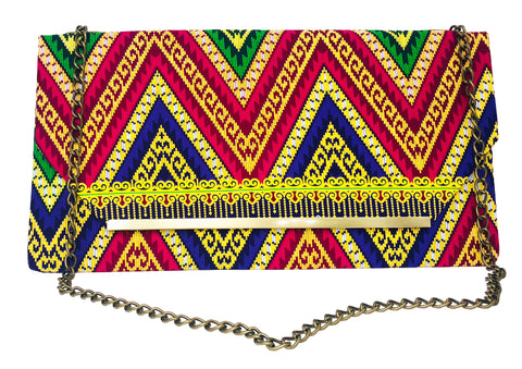 Red and Blue Chevron Chain Purse