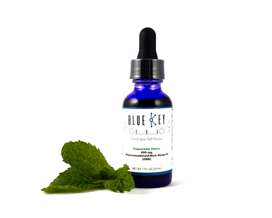 Blue Key CBD Hemp Oil 600mg Peppermint Tincture AND Topical CBD Infused Lotion