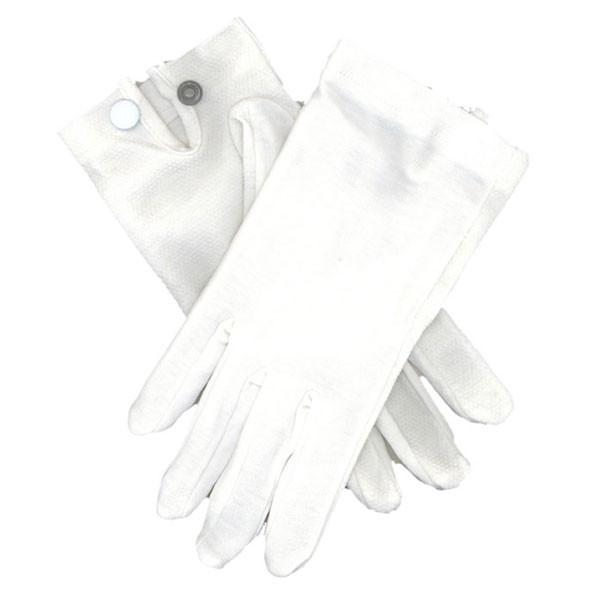 Gloves: Snap Wrist - White Cotton
